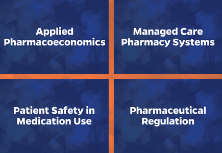 Specialty tracks include applied pharmacoeconomics, managed care pharmacy systems, patient safety in medication use and pharmaceutical regulation
