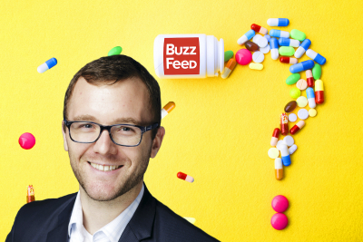 Dr Josh Brown Buzzfeed image, yellow with pills in a question mark