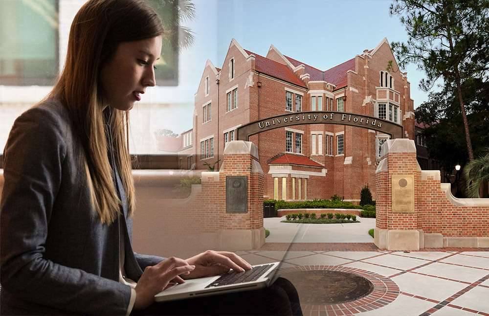 Woman on laptop UF archway composite photo